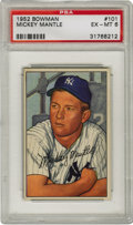 Baseball Cards:Singles (1950-1959), 1952 Bowman Mickey Mantle #101 PSA EX-MT 6. The #101 card from the1952 Bowman baseball issue will forever exist as one of ...