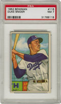 Baseball Cards:Singles (1950-1959), 1952 Bowman Duke Snider #116 PSA NM 7. With color bold enough that one could mistake this card from being printed in the pa...