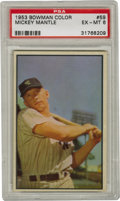 Baseball Cards:Singles (1950-1959), 1953 Bowman Color Mickey Mantle #59 PSA EX-MT 6. Here we offer oneof the most recognizable slivers of cardboard in the hob...