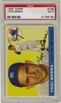 Baseball Cards:Singles (1950-1959), 1955 Topps Yogi Berra #198 PSA EX 5. The glossy cardboard we offerhere from Topps' 1955 baseball issue, features the Hall ...