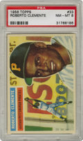 Baseball Cards:Singles (1950-1959), 1956 Topps Roberto Clemente #33 PSA NM-MT 8. Clemente's secondregular issue Topps card rates an outstanding PSA 8 here, a ...