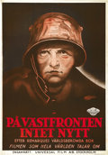 "Movie Posters:War, All Quiet on the Western Front (Universal, 1930). Swedish One Sheet(27.5"" X 39.5"")...."