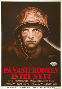 "All Quiet on the Western Front (Universal, 1930). Swedish One Sheet (27.5"" X 39.5"")"