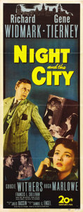 """Movie Posters:Film Noir, Night and the City (20th Century Fox, 1950). Insert (14"""" X 36"""")...."""