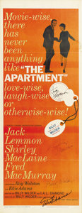 "Movie Posters:Academy Award Winner, The Apartment (United Artists, 1960). Autographed Insert (14"" X36""). ..."