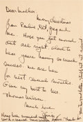 "Miscellaneous:Ephemera, [Ernest Hemingway]. Christmas Card from Ernest Hemingway to hisMother, With Handwritten Greeting, Signed ""Ernie.""..."