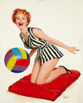 Pin-up and Glamour Art, JOHN SHILLING WITTRUP (American, 1912-1987). Pin-up with BeachBall. Oil on canvas. 31 x 25 in.. Signed lower left. ...