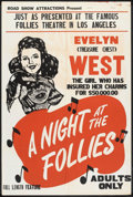 "Movie Posters:Sexploitation, A Night at the Follies (Roadshow Attractions, 1947). One Sheet (28""X 41""). Sexploitation.. ..."