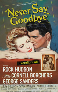 ROY BESSIE (American, 20th Century) Never Say Goodbye, movie one sheet movie poster illustration, 1956<