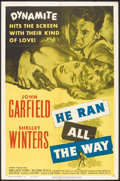 "Movie Posters:Film Noir, He Ran All the Way (United Artists, 1951). One Sheet (27"" X 41""). Film Noir.. ..."