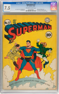 Superman #17 (DC, 1942) CGC VF- 7.5 Off-white to white pages