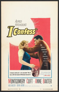 """I Confess (Warner Brothers, 1953). Window Card (14"""" X 22"""") and Lobby Card (11"""" X 14""""). Hitchcock..."""