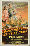"Movie Posters:War, Commandos Strike at Dawn (Columbia, 1942). One Sheet (27"" X 41"")Style A. War.. ..."