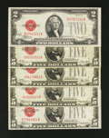Small Size:Group Lots, $2 and $5 Legal Tender Notes. Very Fine.. ... (Total: 5 notes)