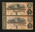 Confederate Notes:1864 Issues, T69 $5 1864. Two Examples.. ... (Total: 2 notes)