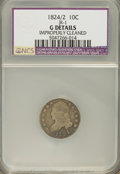 Bust Dimes: , 1824/2 10C --Improperly Cleaned--NCS. Good Details. JR-1. NGCCensus: (1/46). PCGS Population (1/45). Mintage: 100,000. Num...