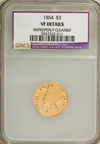 1854 $3 --Improperly Cleaned--VF20 NCS. VF Details. NGC Census: (2/3208). PCGS Population (4/2469). Mintage: 138,618. Nu...