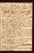 """Autographs:U.S. Presidents, Andrew Jackson Autograph Letter Signed Twice (""""Andrew Jackson"""" and """"A.J."""") to """"Genl John Coffee"""". One page, 7.5""""..."""