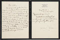 "Autographs:Authors, Samuel L. Clemens (""Mark Twain"") Five Items Including Two AutographManuscripts composed in Bermuda, where he spent the last..."