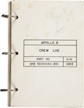 Explorers:Space Exploration, Apollo 8 Flown Crew Log Directly from the Personal Collection ofMission Command Module Pilot James Lovell, Certified and Sign...