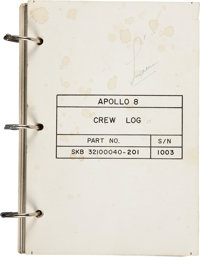 Apollo 8 Flown Crew Log Directly from the Personal Collection of Mission Command Module Pilot James Lovell, Certified an...