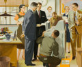 Mainstream Illustration, FRITZ WILLIS (American, 1907-1979). Installing a New BusinessMachine. Gouache on board. 18 x 22 in.. Signed lower right...