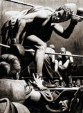 Mainstream Illustration, JAMES R. BINGHAM (American, 1917-1971). The Knockout. Ink onboard. 16 x 14 in.. Signed faintly lower center-left. ...