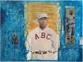 Baseball Collectibles:Others, Oscar Charleston Mixed Media Painting. ...