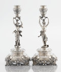Silver Holloware, Continental:Holloware, A PAIR OF AUSTRIAN SILVER FIGURAL CANDLESTICKS. Maker unknown,Vienna, Austria, circa 1900. Marks: (Diana's head, 3, A), A...(Total: 2 Items)