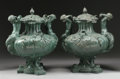 Bronze:Contemporary, A PAIR OF BRONZE LIDDED GARDEN URNS . 30 inches (76.2 cm) high,each. ... (Total: 2 Items)