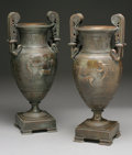 Decorative Arts, Continental:Other , A PAIR OF NEOCLASSICAL BRONZE URNS. 19th Century. 17-1/2 inches(44.5 cm) high, each. ... (Total: 2 Items)