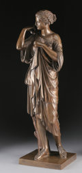 Fine Art - Sculpture, European:Antique (Pre 1900), A FRENCH NEOCLASSICAL BRONZE WOMAN. 19th Century. Signed andstamped on base: F. Barbedienne Fondeur, reductionmechanique...