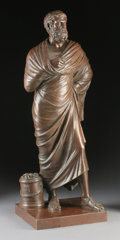 Fine Art - Sculpture, European:Antique (Pre 1900), AN ITALIAN NEOCLASSICAL BRONZE PHILOSOPHER. G. Misini, Rome, 19thCentury. Inscribed on base: G. Misini, Roma. 26 inches...