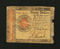 Colonial Notes:Continental Congress Issues, Continental Currency January 14, 1779 $20 Very Fine, damaged....