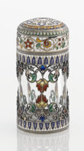 Silver Smalls:Other , A VIENNESE ENAMEL, SILVER GILT AND CRYSTAL BOTTLE. Makerunidentified, circa 1890. Marks: (Diana, 2, A), (maker's markundec...