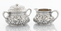 AN AMERICAN SILVER CREAMER AND COVERED SUGAR BOWL Dominick & Haff, New York, New York, 1881 Marks: (rectangle-9...