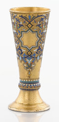 Silver Holloware, Continental:Holloware, A RUSSIAN SILVER GILT AND CLOISONNÉ ENAMEL BEAKER. Makerunidentified, Moscow, Russia, 1886. Marks: AP (in Cyrillic)(ov...