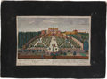 Antiques:Posters & Prints, [Vues d'Optique]. Three European Views, With Cut-Outs.. Threeeighteenth-century hand-colored optique prints with intr...(Total: 3 Items)