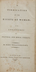 Books:First Editions, Mary Wollstonecraft. A Vindication of the Rights of Woman: WithStrictures on Political and Moral Subjects - First...