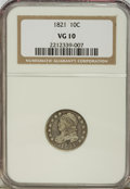 Bust Dimes: , 1821 10C Large Date VG10 NGC. NGC Census: (4/203). PCGS Population (5/197). Mintage: 1,186,512. Numismedia Wsl. Price for N...