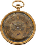 Timepieces:Pocket (post 1900), Longines Gold Pocket Watch With Fancy Dial, circa 1905. ...