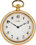 Timepieces:Pocket (post 1900), Cartier Gold & Enamel Pocket Watch, circa 1910. ...