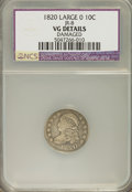 Bust Dimes, 1820 10C Large 0--Damaged--VG8 NCS. VG Details. JR-8. NGC Census:(1/210). PCGS Population (1/149). Mintage: 942,587. Numis...