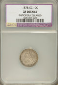 Seated Dimes: , 1878-CC 10C --Improperly Cleaned--NCS. XF Details. NGC Census: (2/47). PCGS Population (4/52). Mintage: 200,000. Numismedia ...