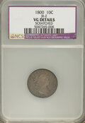 Early Dimes: , 1800 10C --Scratched--NCS. VG Details. JR-2. NGC Census: (0/41).PCGS Population (1/56). Mintage: 21,760. Numismedia Wsl. P...