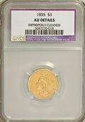 Three Dollar Gold Pieces: , 1855 $3 --Improperly Cleaned--NCS. AU Details. NGC Census: (63/820). PCGS Population (102/444). Mintage: 50,555. Numismedia ...