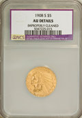 1908-S $5 --Improperly Cleaned--NCS. AU Details. NGC Census: (12/386). PCGS Population (21/338). Mintage: 82,000. Numism...