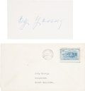 Autographs:Index Cards, 1952 Cy Young Signed Index Card. ...