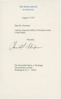 """Autographs:U.S. Presidents, Richard Nixon Souvenir Resignation Letter Signed. One page, 5"""" x8"""". This souvenir letter is dated August 9, 1974, from the ..."""