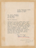 "Autographs:Celebrities, Clarence Darrow Typed Letter Signed. One page, 6.25"" x 8.5"",October 29, 1927, Chicago, to John B. Bakeless of New York City..."